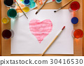 Watercolor heart on sheet among creative chaos 30416530