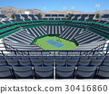 Modern hard court tennis stadium with blue seats 30416860