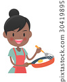 在家庭主婦煎鍋做一個煎蛋 30419895
