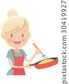用家庭主婦煎鍋做煎蛋捲 30419927