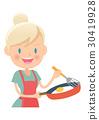 在家庭主婦煎鍋做一個煎蛋 30419928