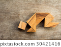 Wooden tangram puzzel in man crouch shape 30421416