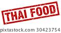 square grunge red thai food stamp 30423754