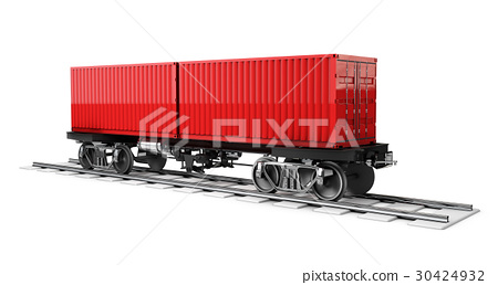 Cargo container on the Railway track, 3d - Stock Illustration