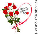 Red roses with a heart-shaped Happy Mother's Day 30427268