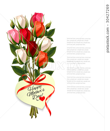 Red roses with a heart-shaped Happy Mother's Day 30427269