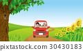 여름의 시골 길에서 운전하는 네 명의 가족 30430183