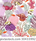 Coral Reef and  Fishes Pattern 30433992