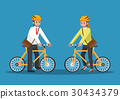 Businessman and businesswoman riding bicycle. 30434379
