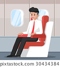 Businessman sitting and relax on the plane. 30434384