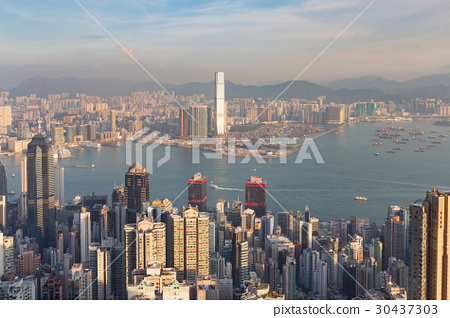 Hong Kong business downtown over Victory Bay 30437303
