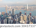 City of Hong Kong business area over Victoria Sea 30437337
