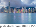 Hong Kong city central business area sea front 30437355