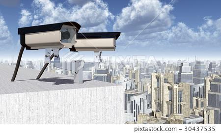 Surveillance cameras over a city 30437535