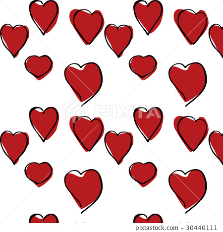 Red Hearts hand drawn pattern. 30440111