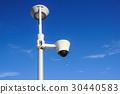 security cctv cameras on a pole with blue sky 30440583