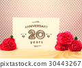 20 years anniversary card with pink carnations 30443267