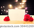 Blank message card with carnation flowers 30443269