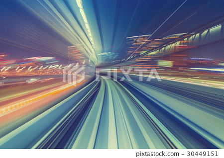 High speed technology concept via a Tokyo monorail 30449151