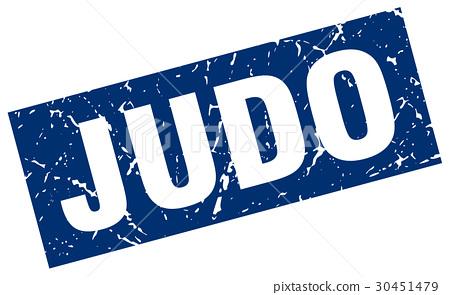 square grunge blue judo stamp 30451479