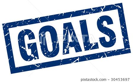 square grunge blue goals stamp 30453697