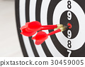 Arrows hitting the center of a target board 30459005