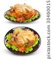 Roasted chicken isolated on white background 30460015