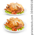 Roasted chicken isolated on white background 30460018