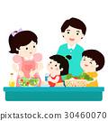 Happy family cook healthy food cartoon vector 30460070