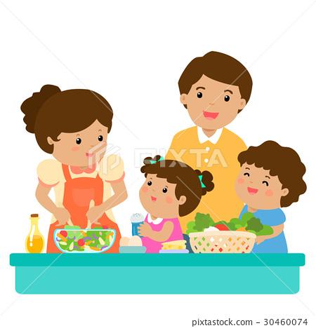 Happy Family Cook Healthy Food Cartoon Vector Stock Illustration 30460074 Pixta