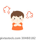 Cute cartoon angry boy character vector. 30460182