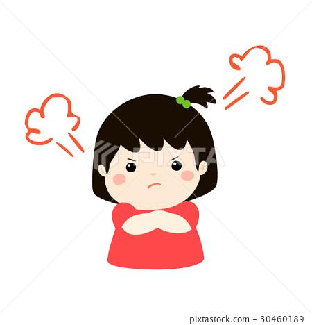 Cute Cartoon Angry Girl Character Vector Stock Illustration 30460189 Pixta
