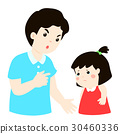 Father scolds his daughter cartoon vector. 30460336
