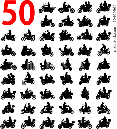 big collection of motorcyclist silhouettes 30460969