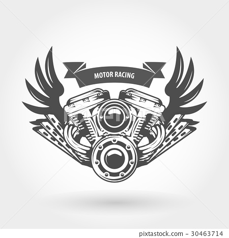 Winged motorcycle engine emblem - chopper motor 30463714