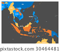 South East Asia political map in four colors with 30464481