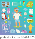 Tennis man character and icons sport vector 30464775