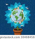globe, flower, vector 30468456