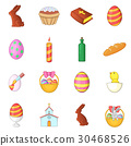 Easter icons set, cartoon style 30468526