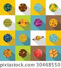 Fantastic planets icons set, flat style 30468550