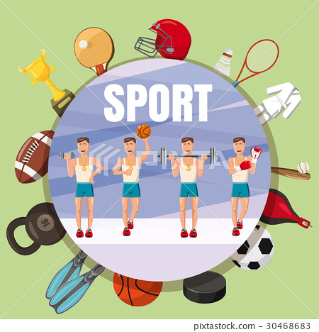 Sport section symbols concept, cartoon style 30468683