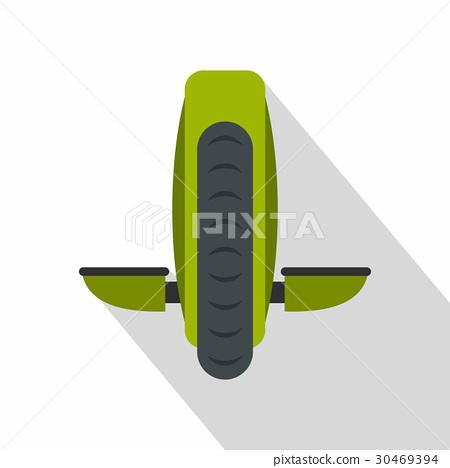 Green monowheel balance vehicle icon, flat style 30469394