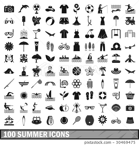 100 summer icons set in simple style 30469475