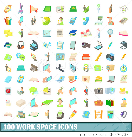 100 work space icons set, cartoon style 30470238