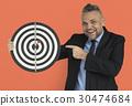 Caucasian Man Bullseye Dart Board Smiling 30474684