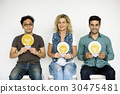Group of People Holding Lightbulb Concept 30475481