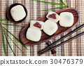 Mochi cake with red beans. Top view. 30476379