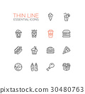 Fast Food Cafe Menu Icons Set 30480763