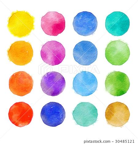 鮮豔細緻的手繪水彩畫插圖在白色背景:彩色圓點水彩畫 30485121