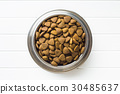 Dry kibble dog food in bowl. 30485637